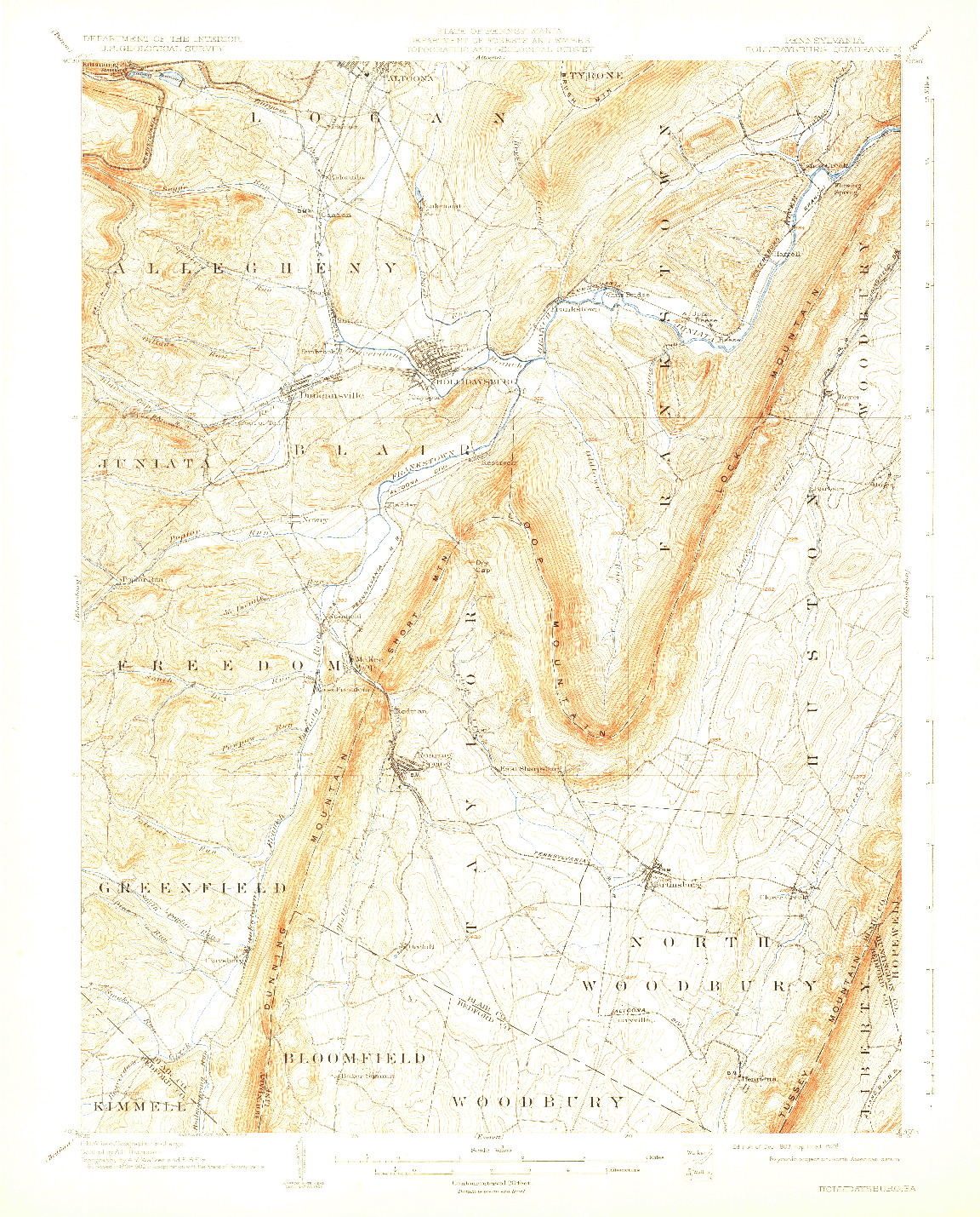 USGS 1:62500-SCALE QUADRANGLE FOR HOLLIDAYSBURG, PA 1903