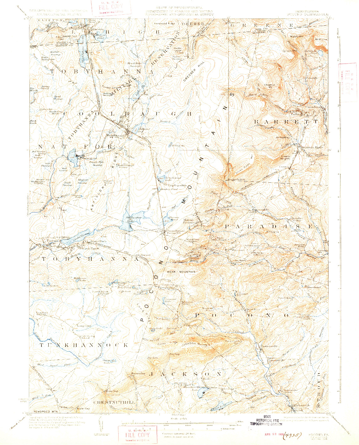 USGS 1:62500-SCALE QUADRANGLE FOR POCONO, PA 1923