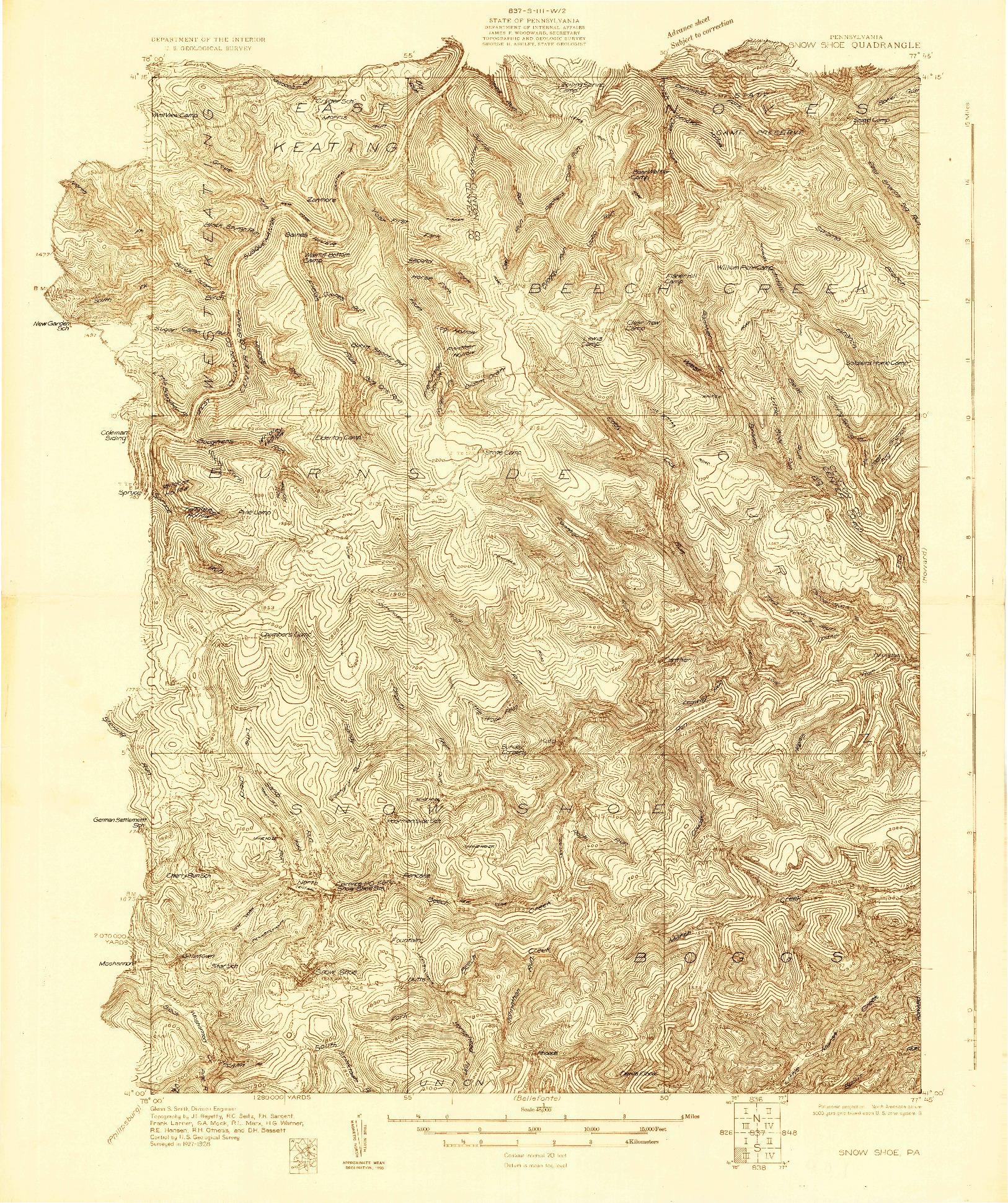 USGS 1:48000-SCALE QUADRANGLE FOR SNOW SHOE, PA 1928