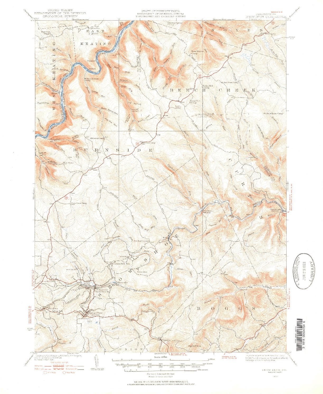 USGS 1:62500-SCALE QUADRANGLE FOR SNOW SHOE, PA 1928