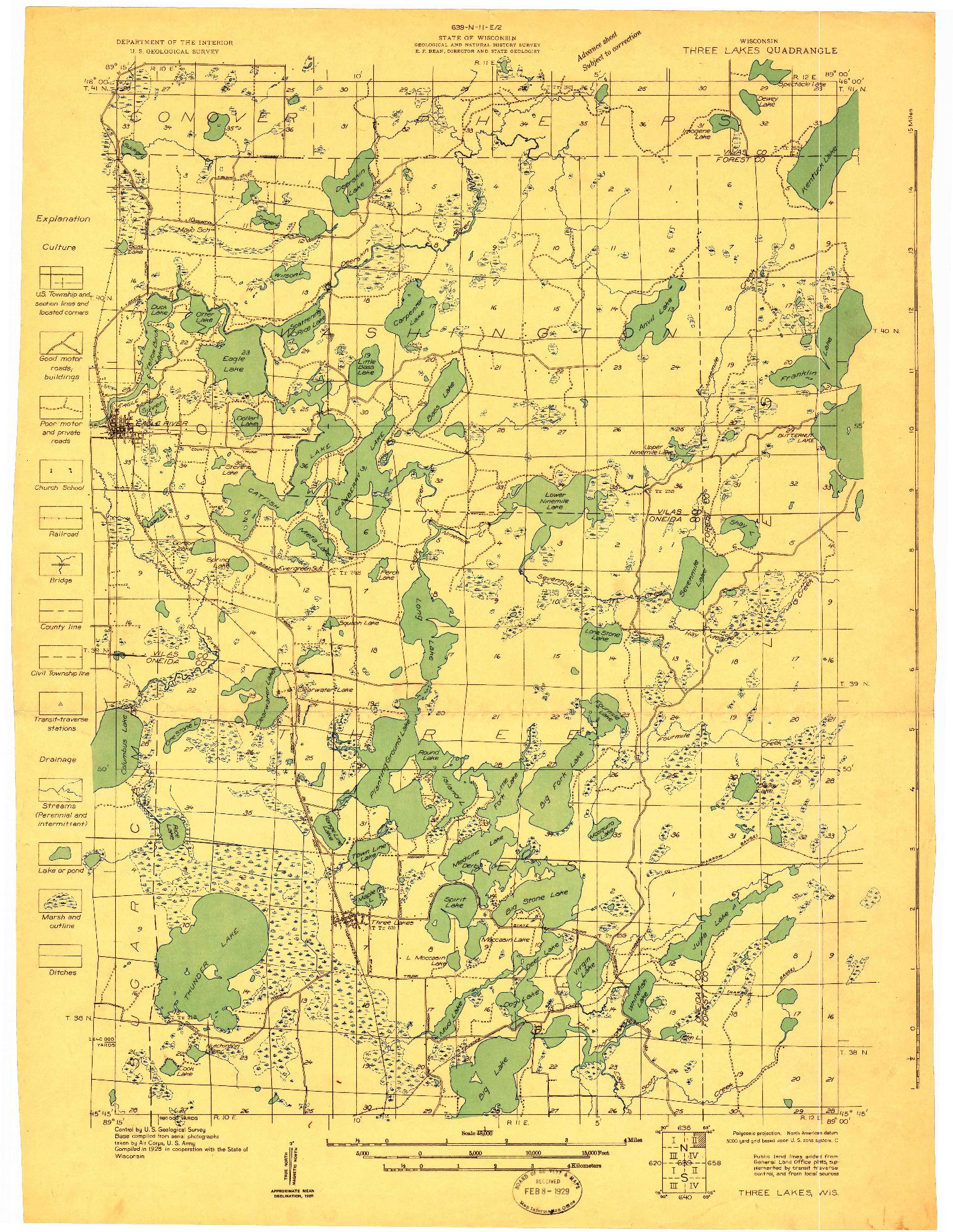 USGS 1:48000-SCALE QUADRANGLE FOR THREE LAKES, WI 1928