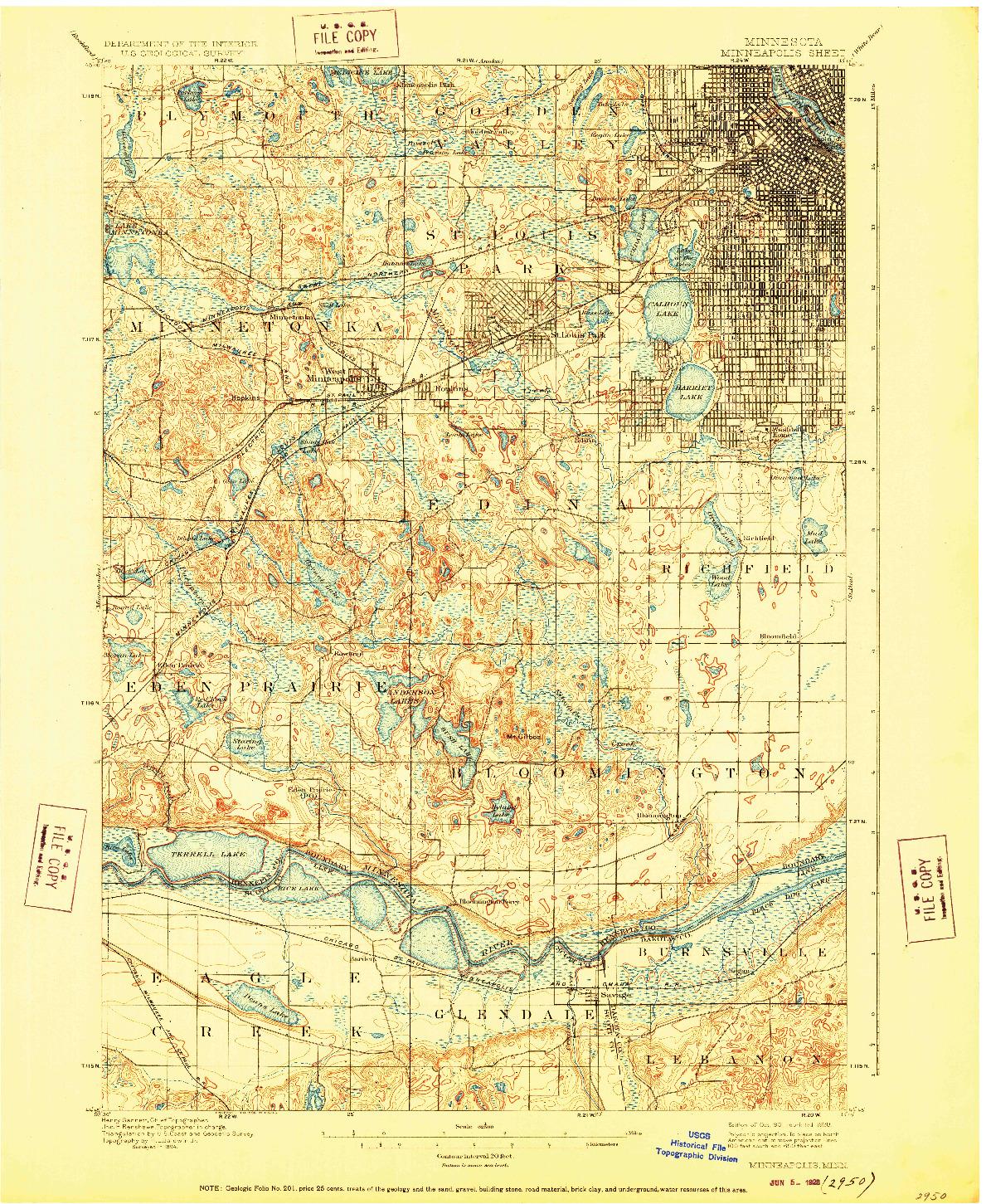 USGS 1:62500-SCALE QUADRANGLE FOR MINNEAPOLIS, MN 1901