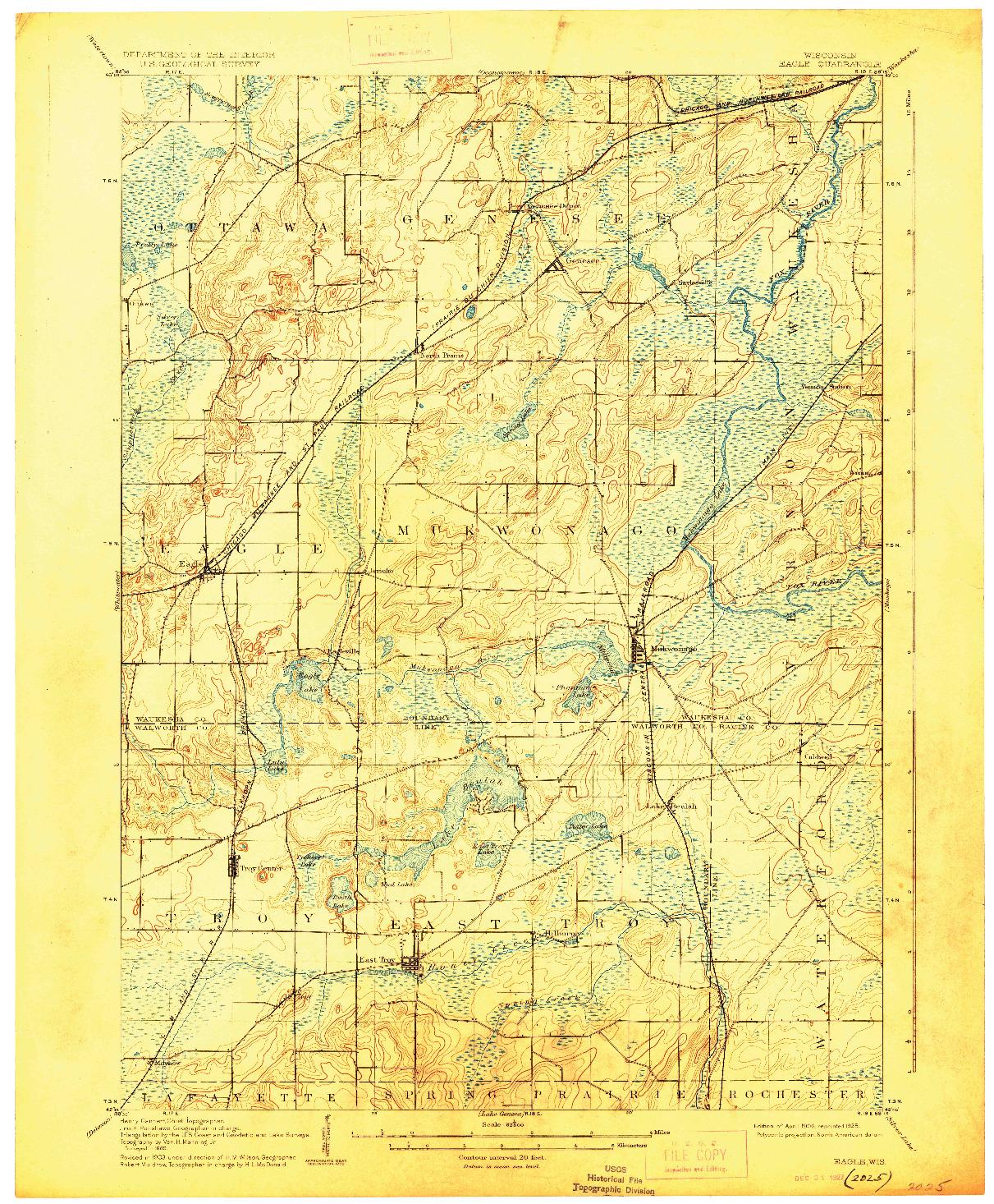 USGS 1:62500-SCALE QUADRANGLE FOR EAGLE, WI 1906