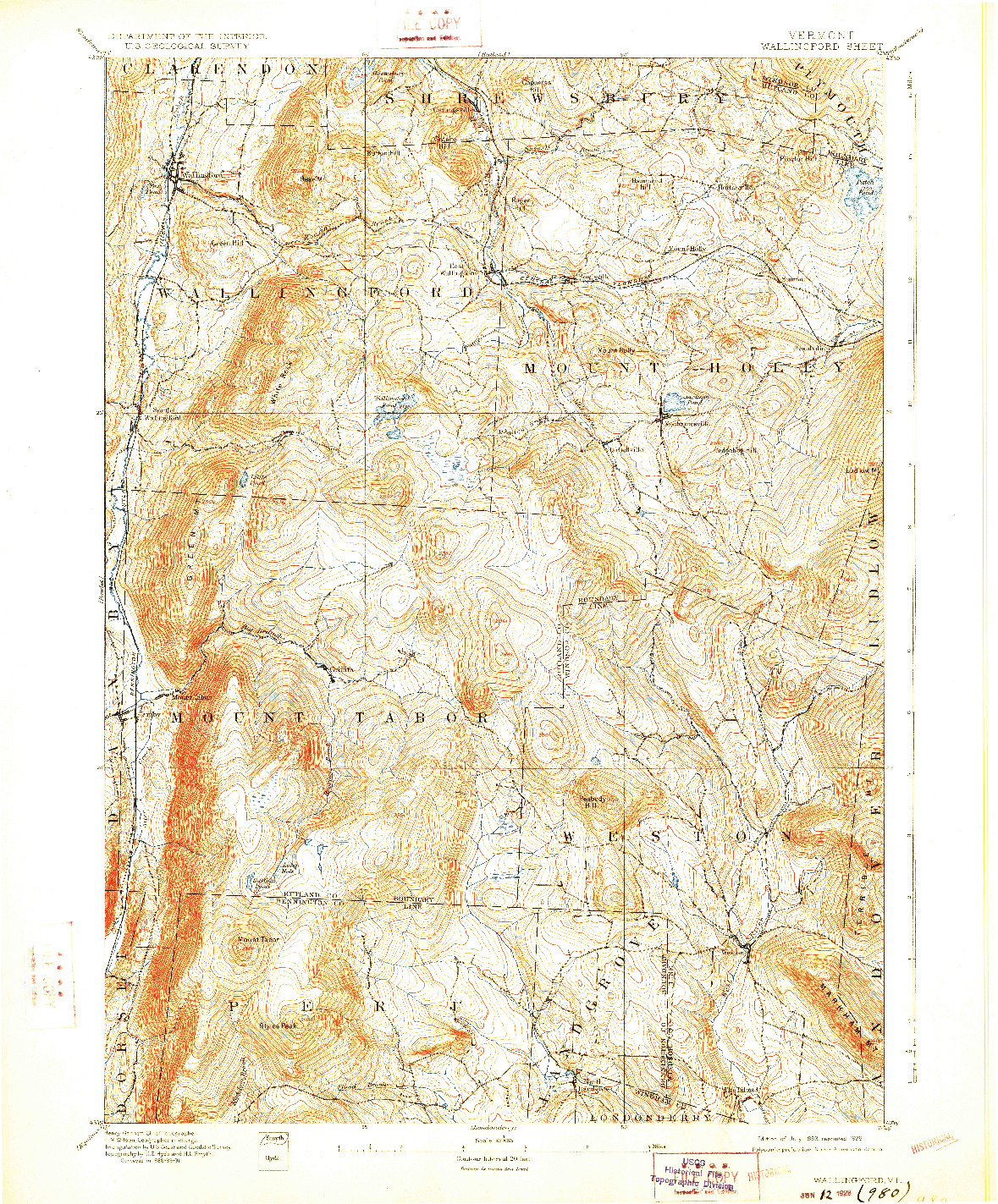 USGS 1:62500-SCALE QUADRANGLE FOR WALLINGFORD, VT 1893