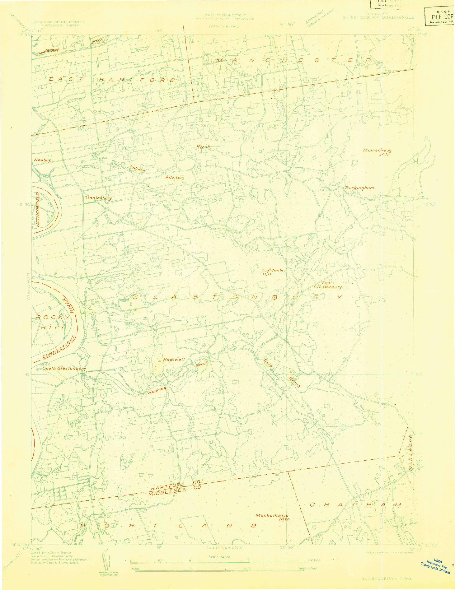 USGS 1:24000-SCALE QUADRANGLE FOR GLASTONBURY, CT 1928