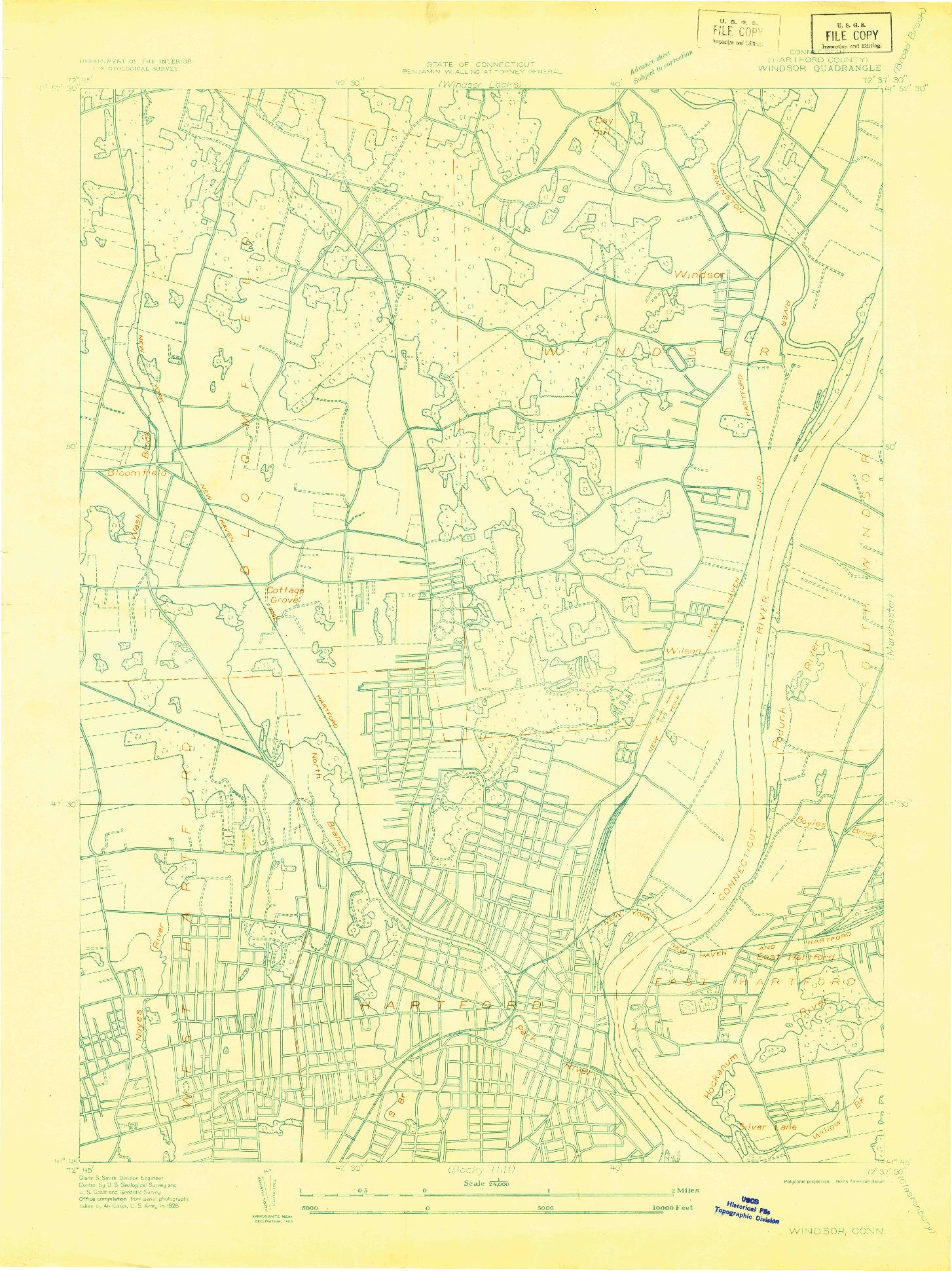 USGS 1:24000-SCALE QUADRANGLE FOR WINDSOR, CT 1928
