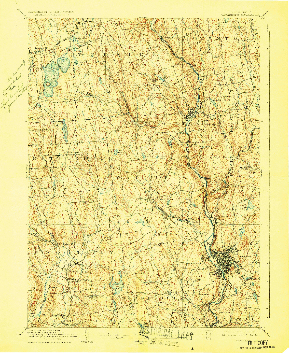 USGS 1:62500-SCALE QUADRANGLE FOR WATERBURY, CT 1904