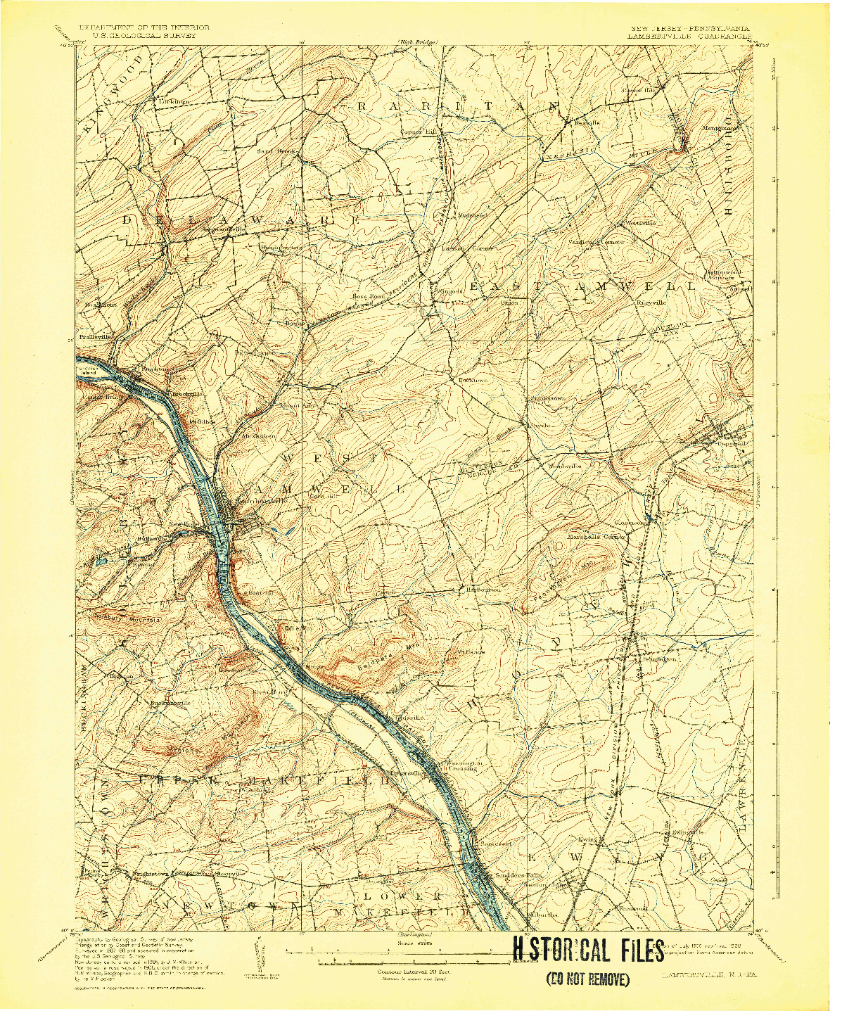USGS 1:62500-SCALE QUADRANGLE FOR LAMBERTVILLE, NJ 1906