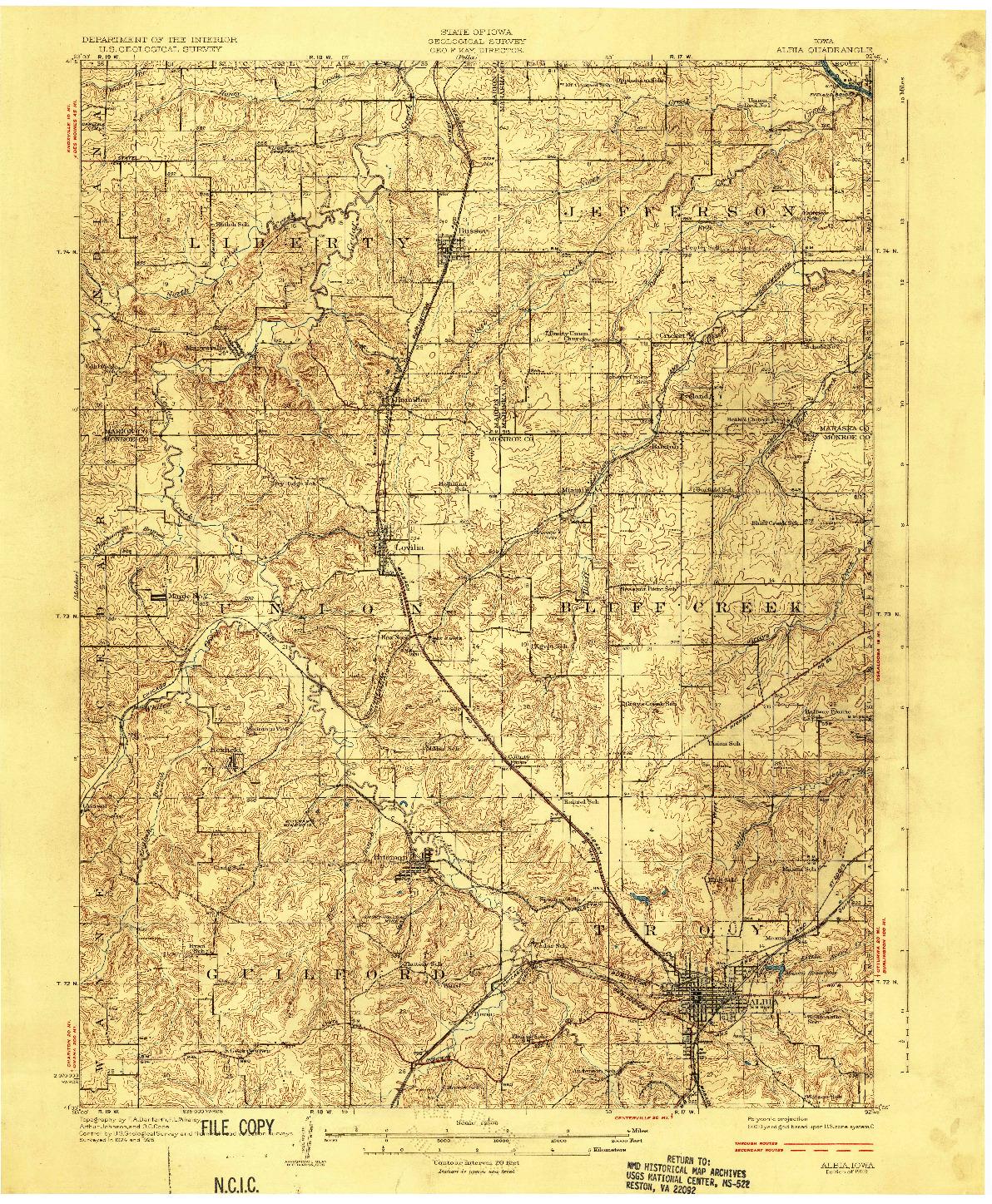 USGS 1:62500-SCALE QUADRANGLE FOR ALBIA, IA 1929