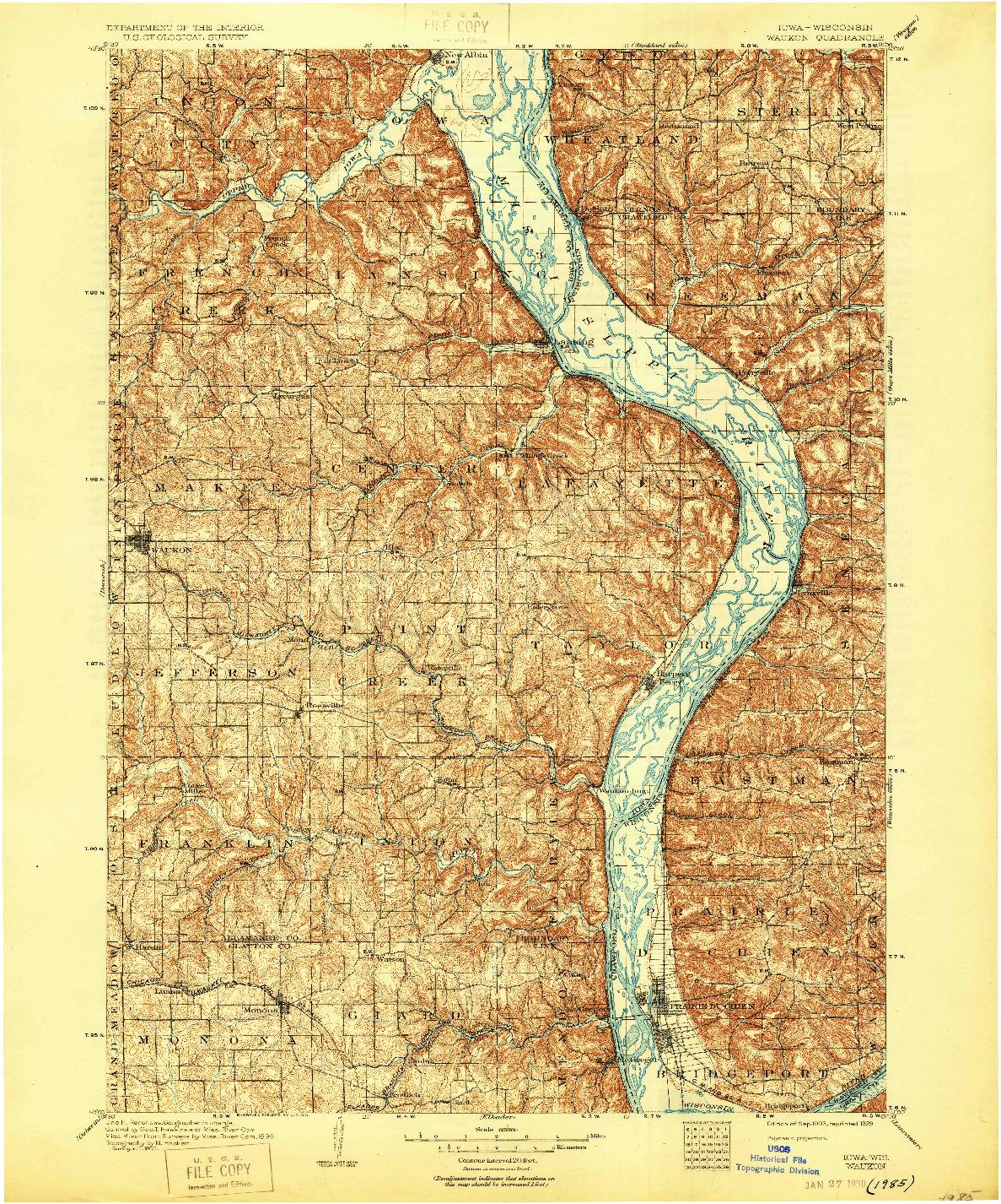 USGS 1:125000-SCALE QUADRANGLE FOR WAUKON, IA 1903