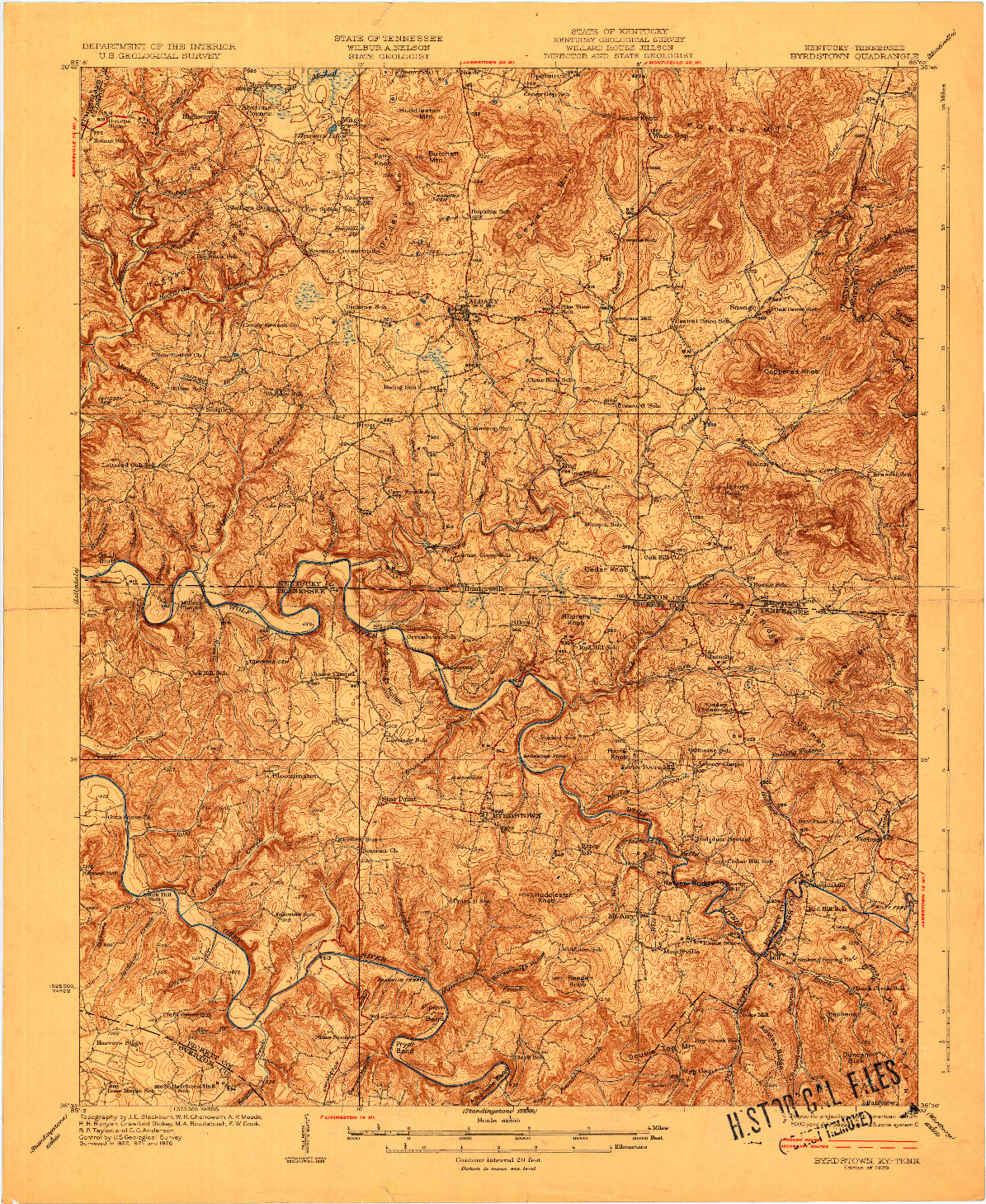 USGS 1:62500-SCALE QUADRANGLE FOR BYRDSTOWN, KY 1929