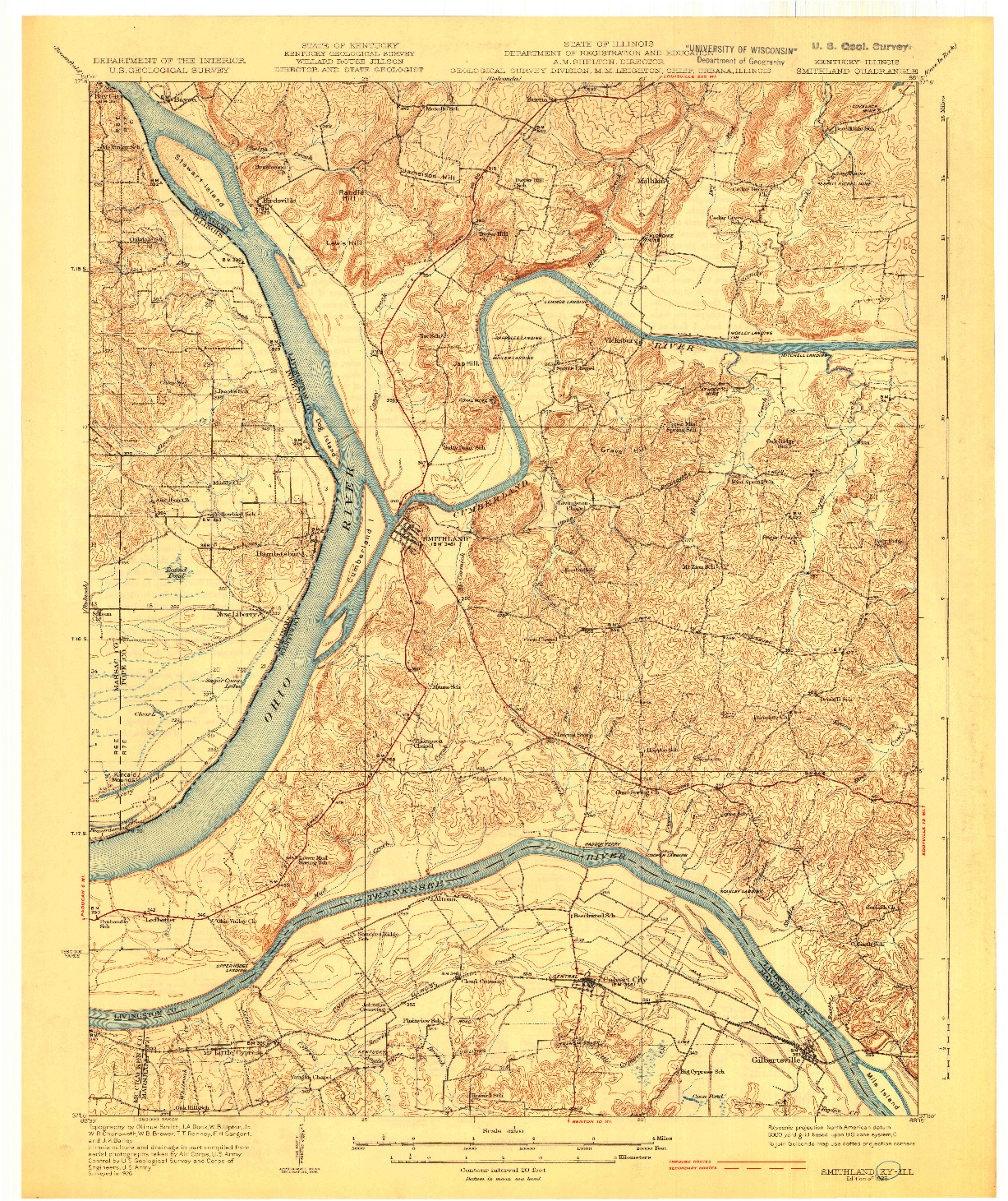 USGS 1:62500-SCALE QUADRANGLE FOR SMITHLAND, KY 1929