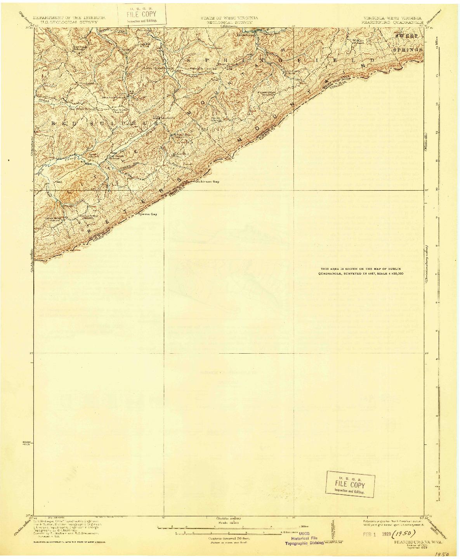 USGS 1:62500-SCALE QUADRANGLE FOR PEARISBURG, VA 1923