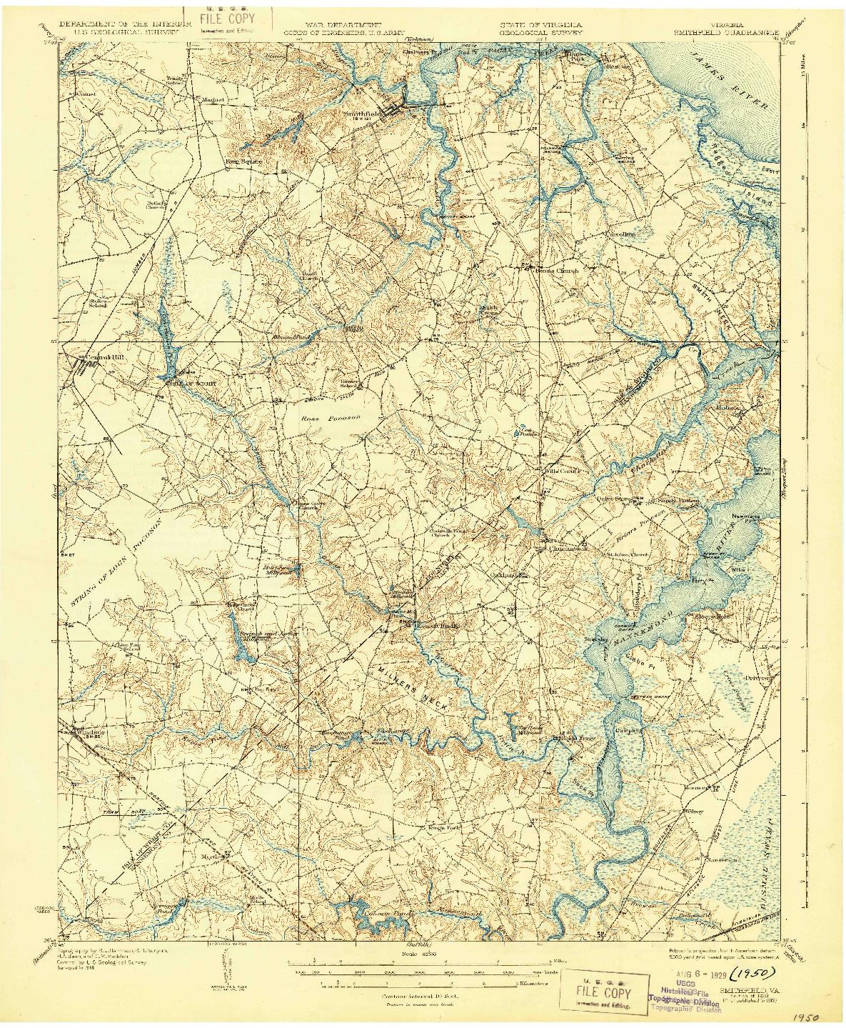 USGS 1:62500-SCALE QUADRANGLE FOR SMITHFIELD, VA 1919