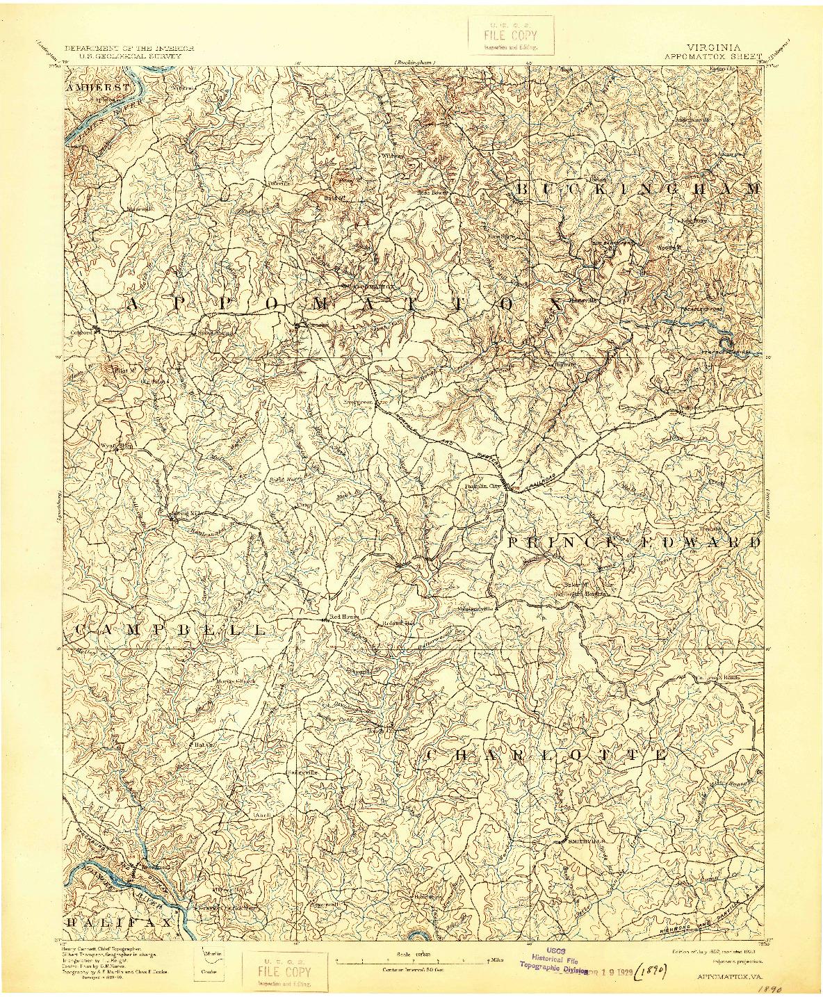 USGS 1:125000-SCALE QUADRANGLE FOR APPOMATTOX, VA 1892