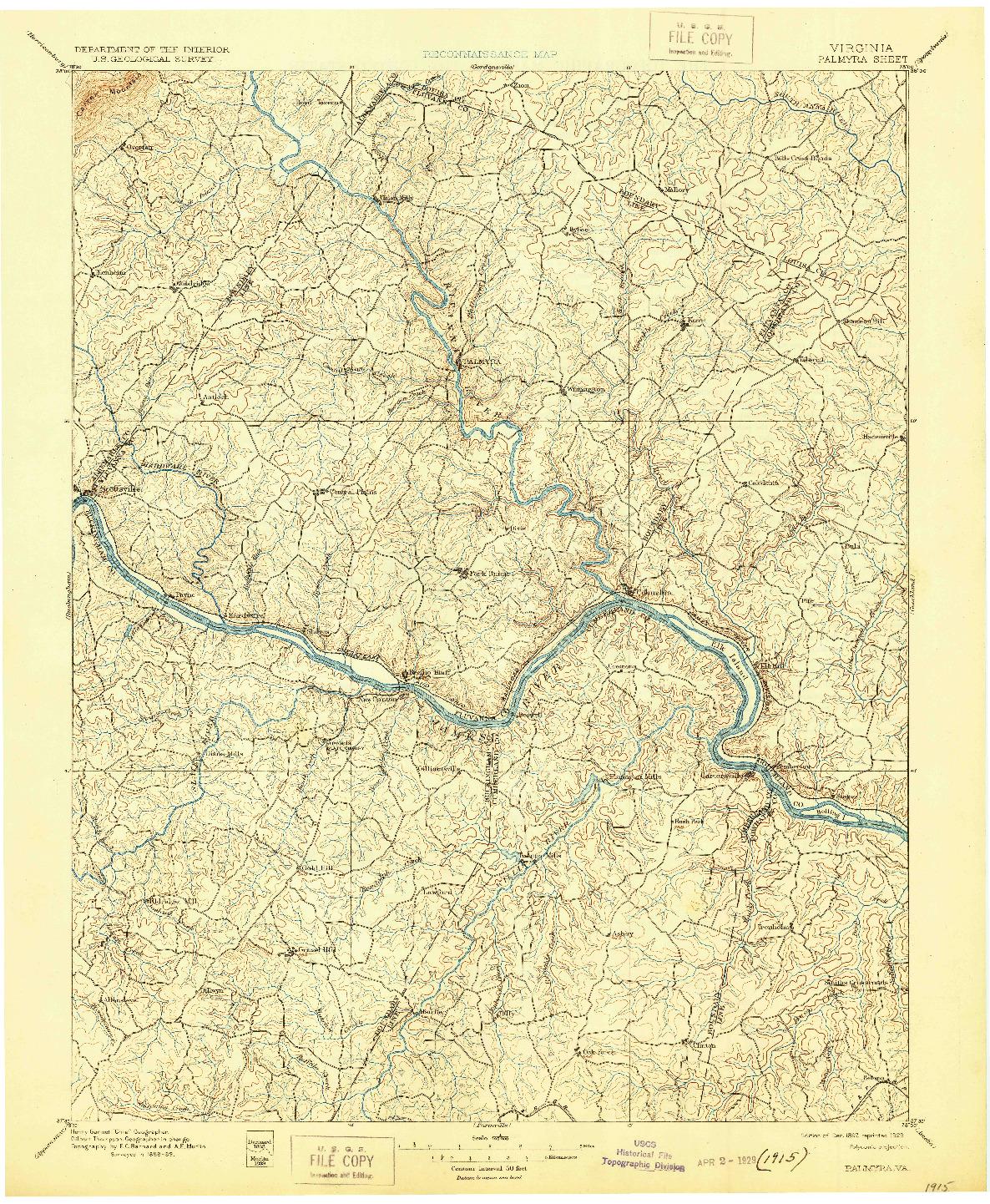 USGS 1:125000-SCALE QUADRANGLE FOR PALMYRA, VA 1897