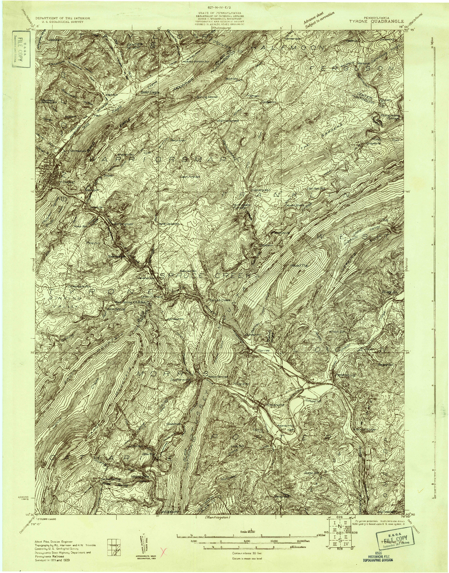 USGS 1:48000-SCALE QUADRANGLE FOR TYRONE, PA 1929