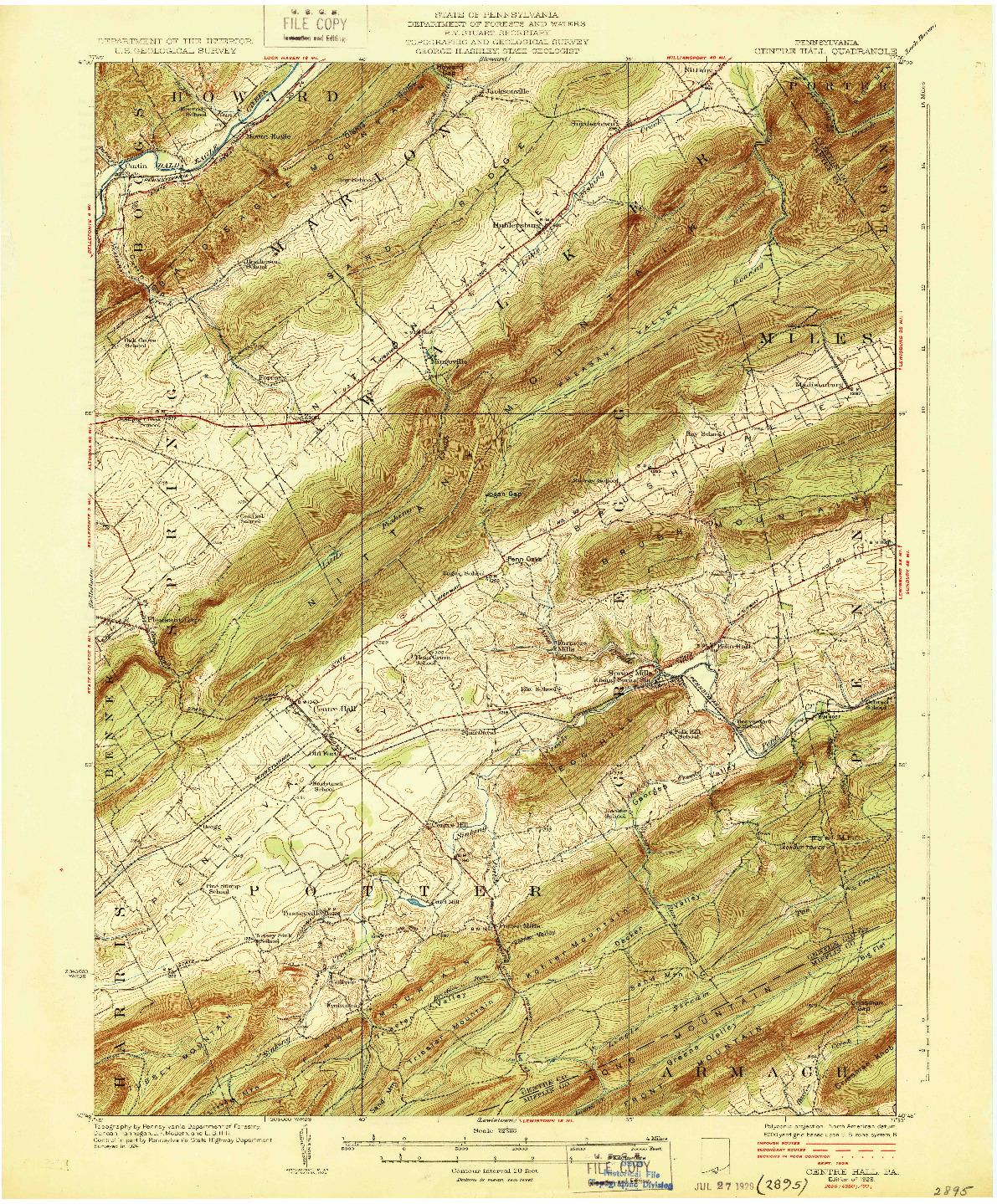 USGS 1:62500-SCALE QUADRANGLE FOR CENTRE HALL, PA 1929