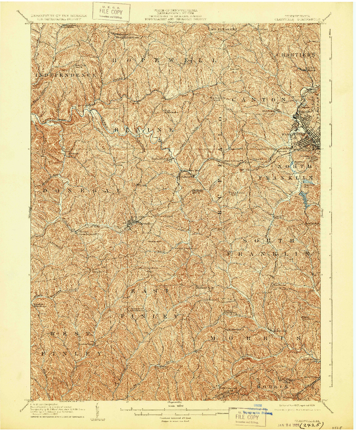 USGS 1:62500-SCALE QUADRANGLE FOR CLAYSVILLE, PA 1907