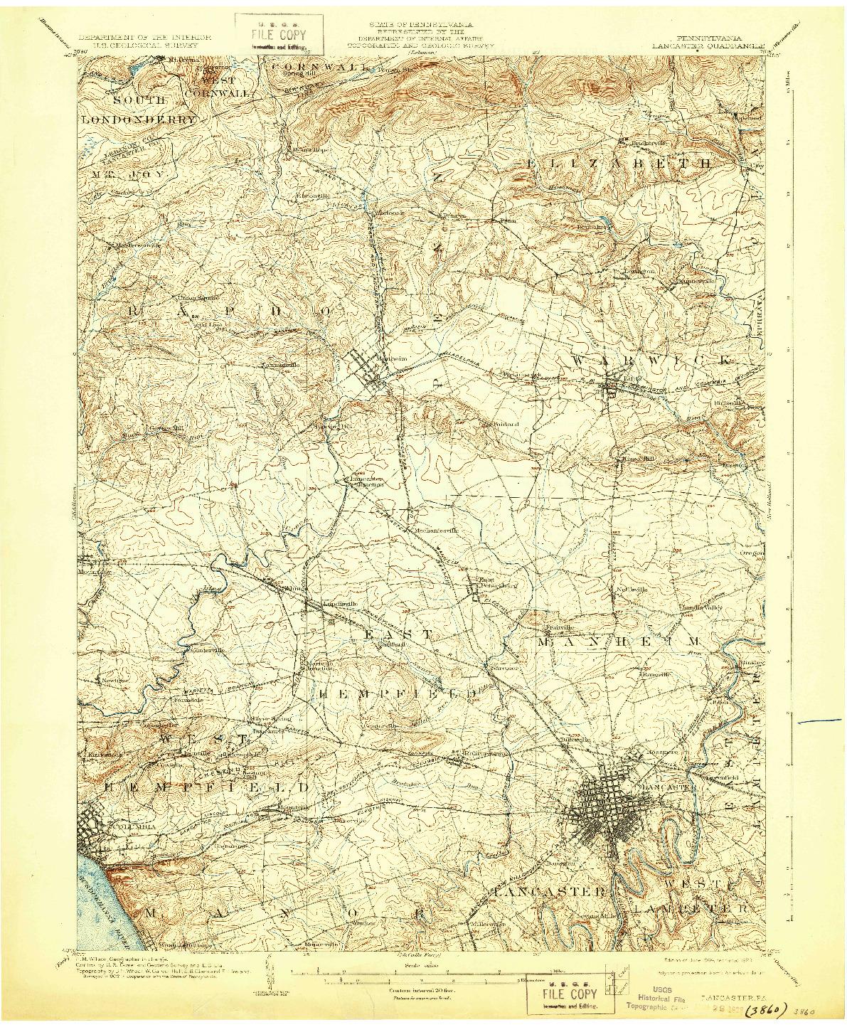 USGS 1:62500-SCALE QUADRANGLE FOR LANCASTER, PA 1904