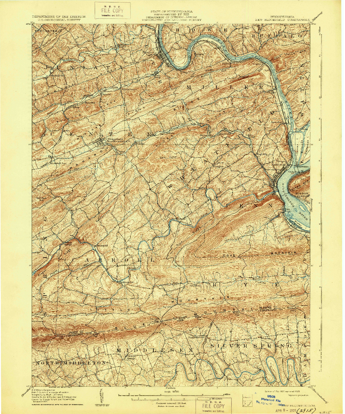 USGS 1:62500-SCALE QUADRANGLE FOR NEW BLOOMFIELD, PA 1907