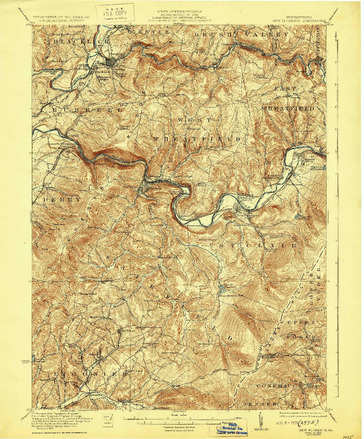USGS 1:62500-SCALE QUADRANGLE FOR NEW FLORENCE, PA 1922