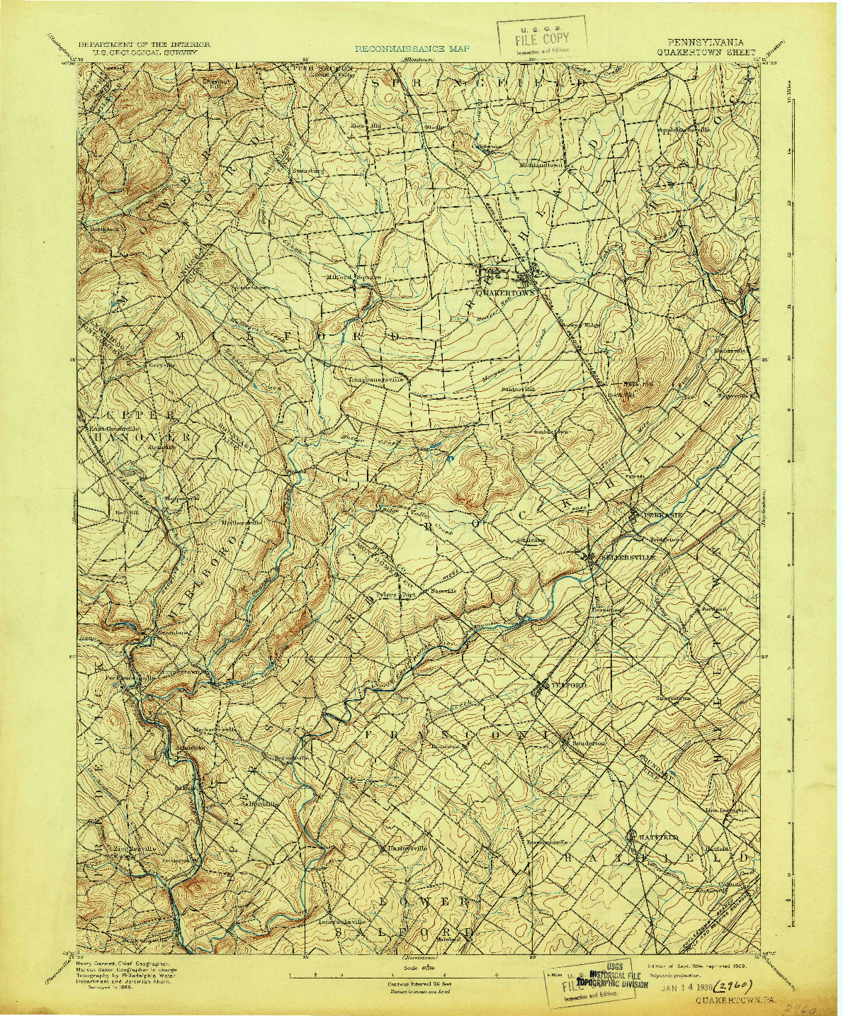 USGS 1:62500-SCALE QUADRANGLE FOR QUAKERTOWN, PA 1894