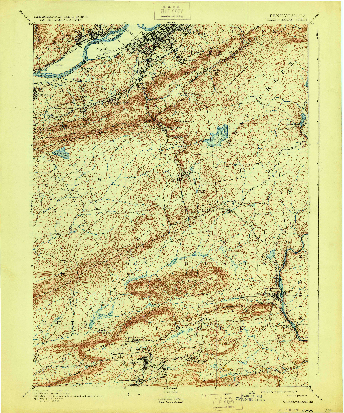 USGS 1:62500-SCALE QUADRANGLE FOR WILKES BARRE, PA 1894
