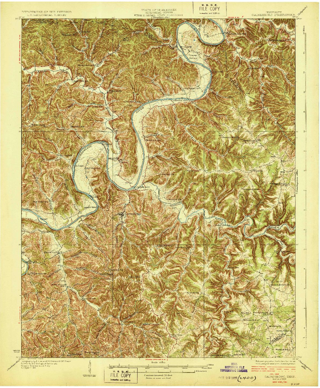 USGS 1:62500-SCALE QUADRANGLE FOR GAINESBORO, TN 1929