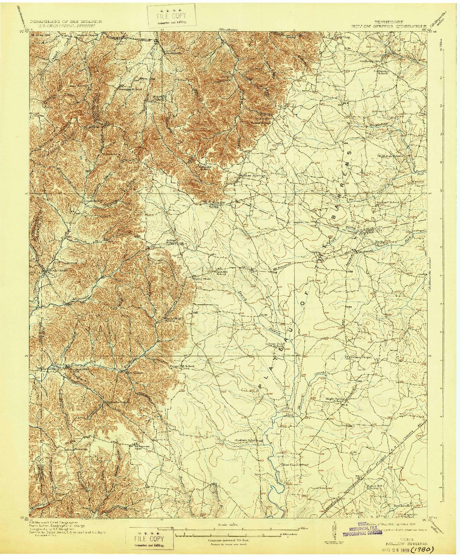 USGS 1:62500-SCALE QUADRANGLE FOR HOLLOW SPRINGS, TN 1913