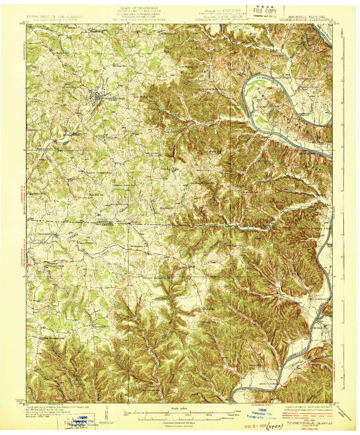 USGS 1:62500-SCALE QUADRANGLE FOR TOMPKINSVILLE, TN 1929