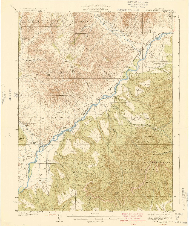 USGS 1:62500-SCALE QUADRANGLE FOR GRAND VALLEY, CO 1929