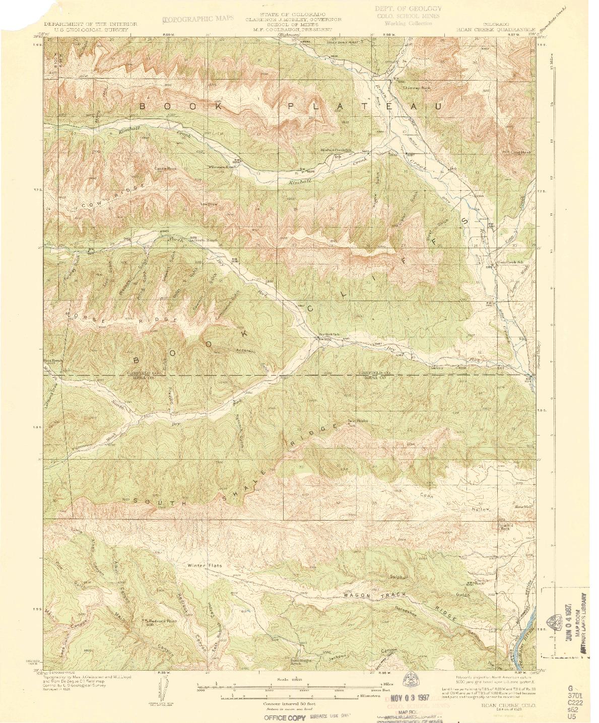 USGS 1:62500-SCALE QUADRANGLE FOR ROAN CREEK, CO 1929