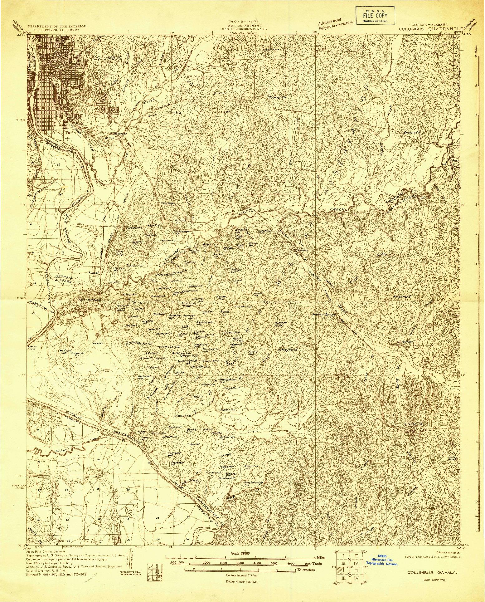 USGS 1:48000-SCALE QUADRANGLE FOR COLUMBUS, GA 1929