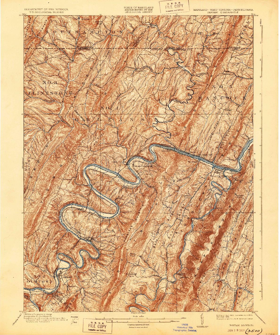 USGS 1:62500-SCALE QUADRANGLE FOR PAWPAW, MD 1900