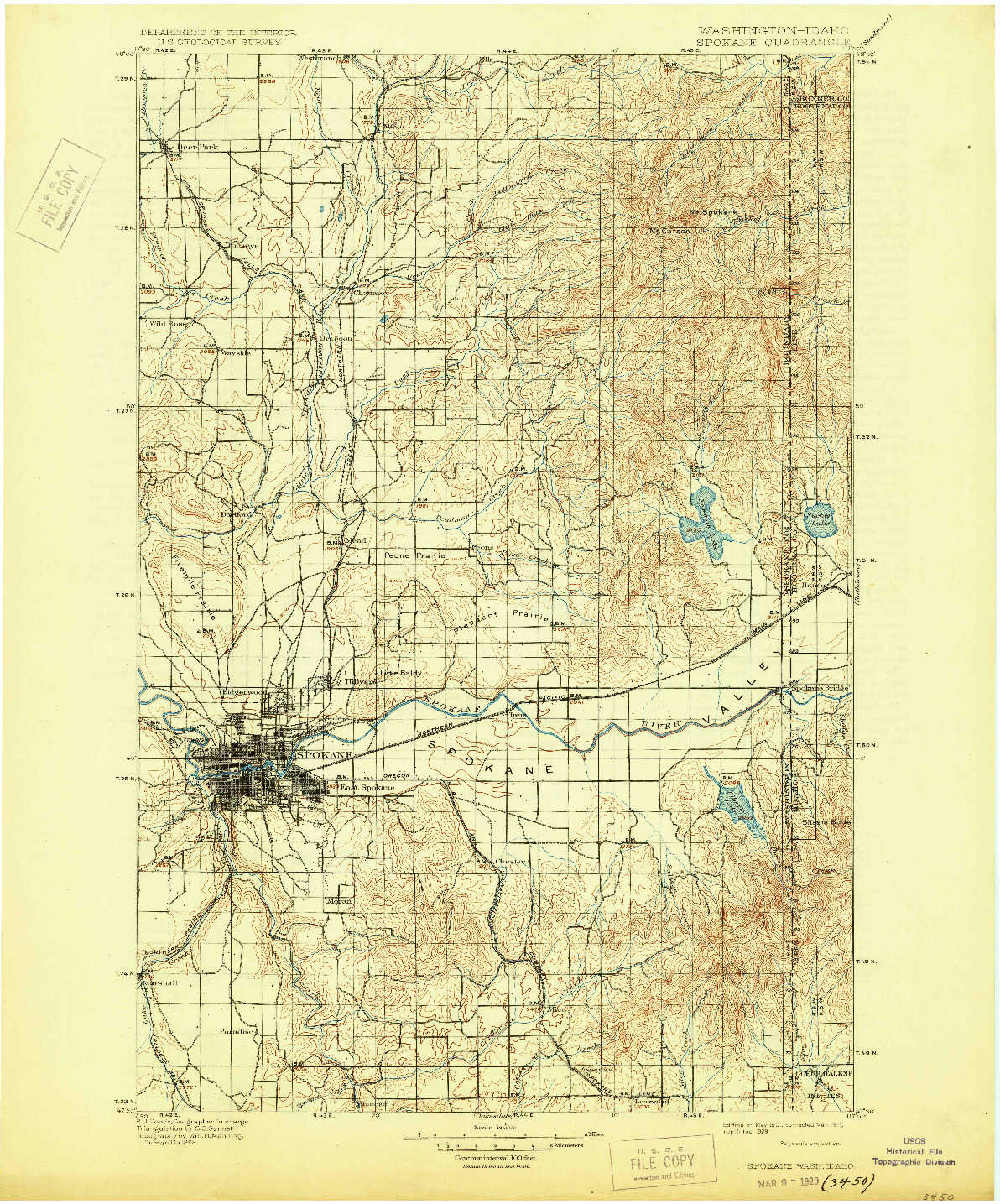 USGS 1:125000-SCALE QUADRANGLE FOR SPOKANE, WA 1901