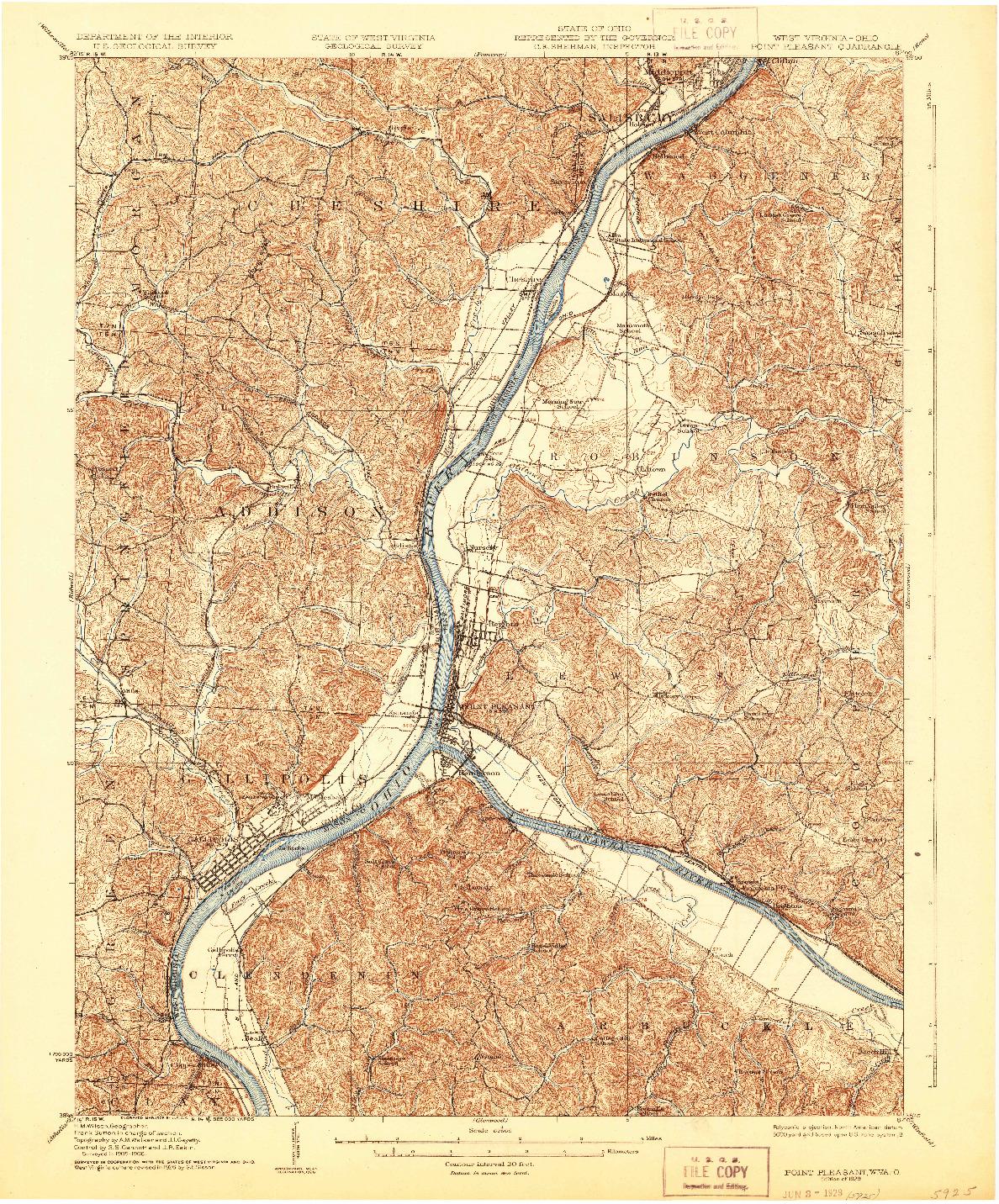 USGS 1:62500-SCALE QUADRANGLE FOR POINT PLEASANT, WV 1929