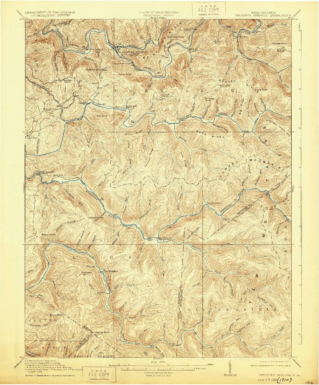 USGS 1:62500-SCALE QUADRANGLE FOR WEBSTER SPRINGS, WV 1918