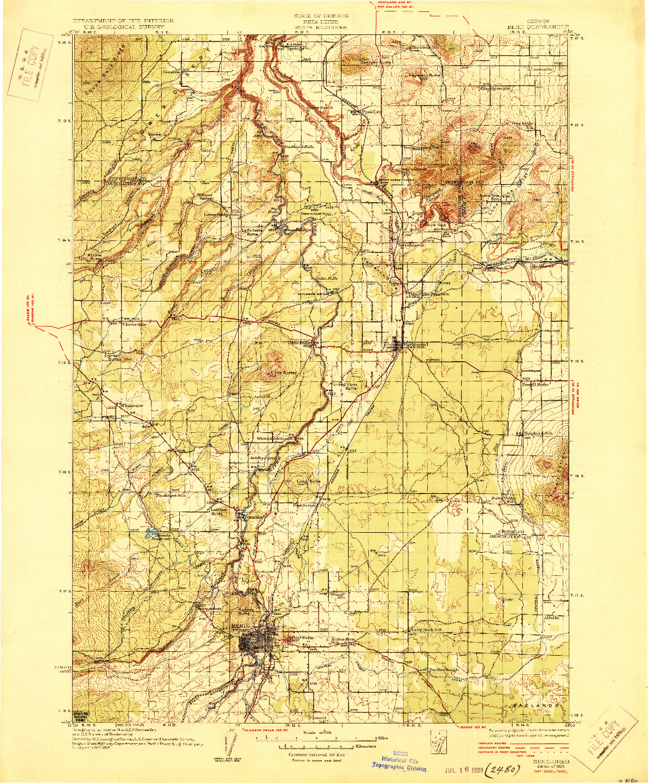 USGS 1:125000-SCALE QUADRANGLE FOR BEND, OR 1929