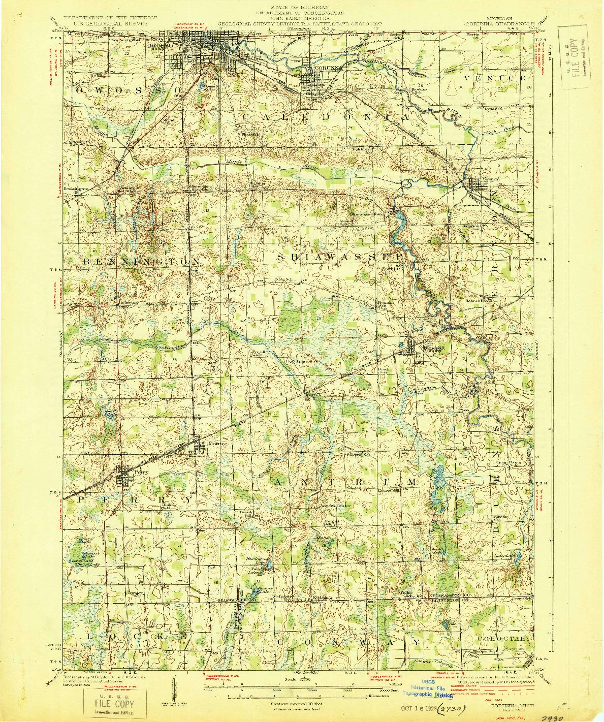 USGS 1:62500-SCALE QUADRANGLE FOR CORUNNA, MI 1929
