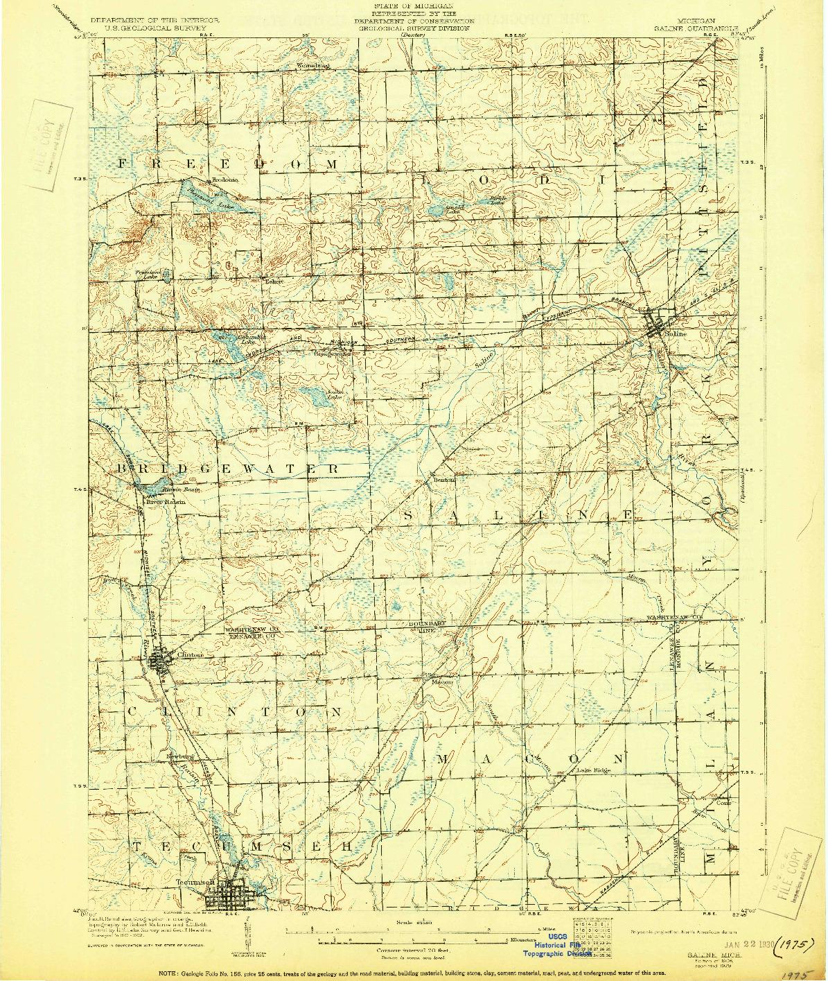 USGS 1:62500-SCALE QUADRANGLE FOR SALINE, MI 1906