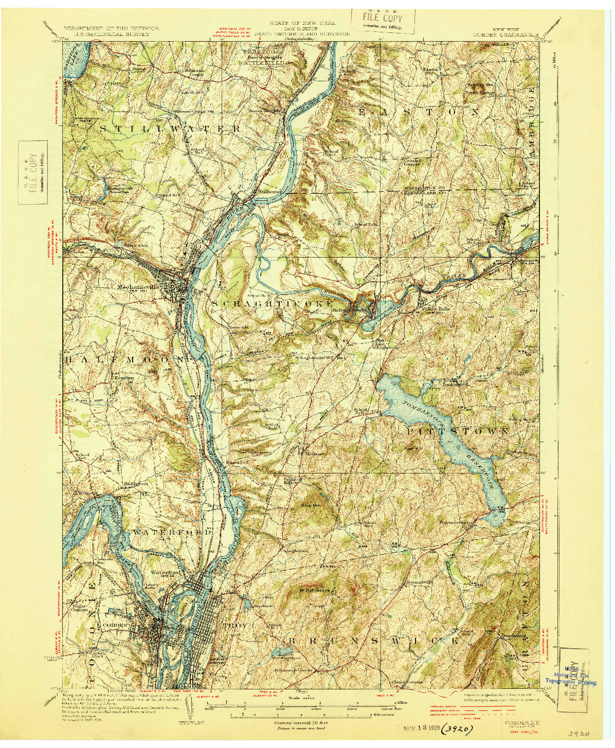 USGS 1:62500-SCALE QUADRANGLE FOR COHOES, NY 1929
