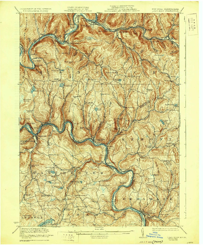 USGS 1:62500-SCALE QUADRANGLE FOR LONG EDDY, NY 1923