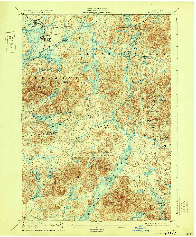 USGS 1:62500-SCALE QUADRANGLE FOR LONG LAKE, NY 1904
