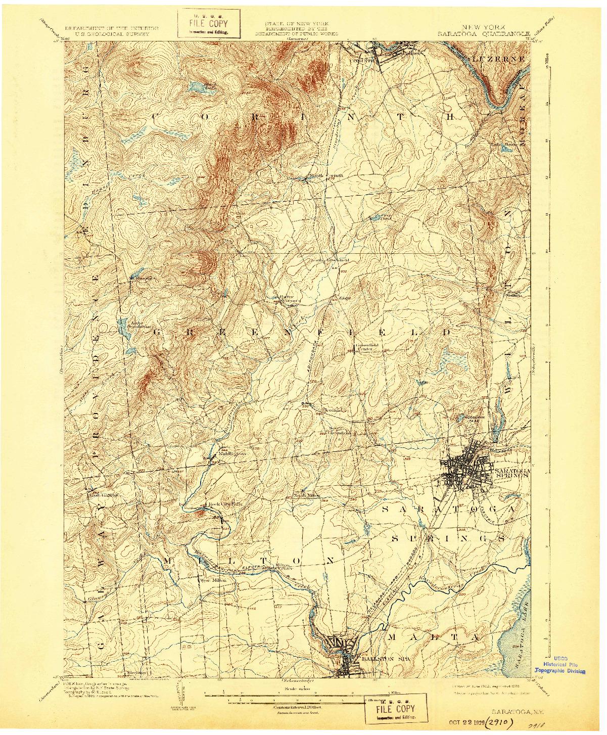 USGS 1:62500-SCALE QUADRANGLE FOR SARATOGA, NY 1902