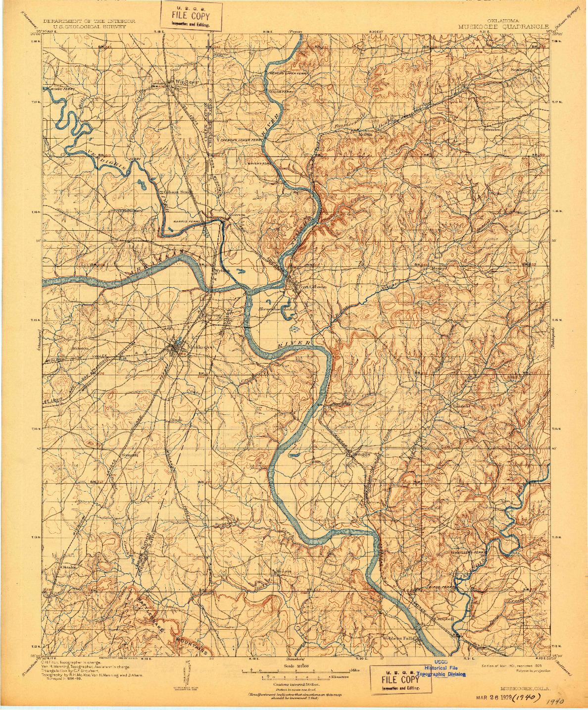 USGS 1:125000-SCALE QUADRANGLE FOR MUSKOGEE, OK 1901