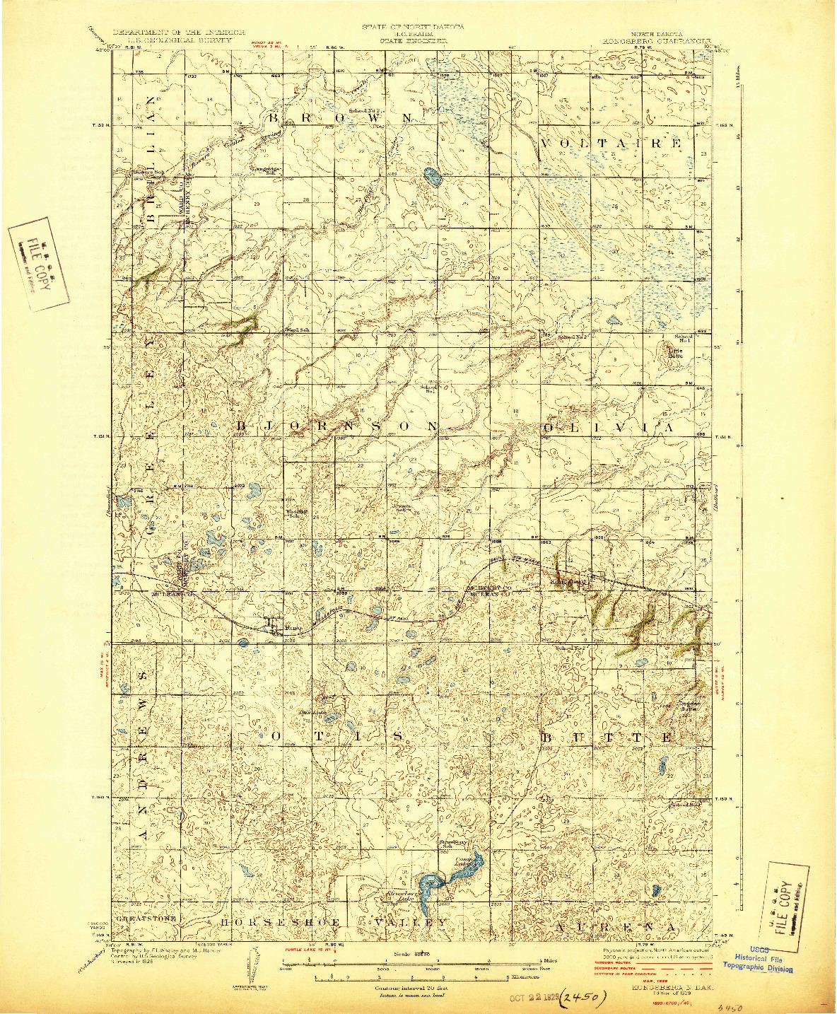 USGS 1:62500-SCALE QUADRANGLE FOR KONGSBERG, ND 1929