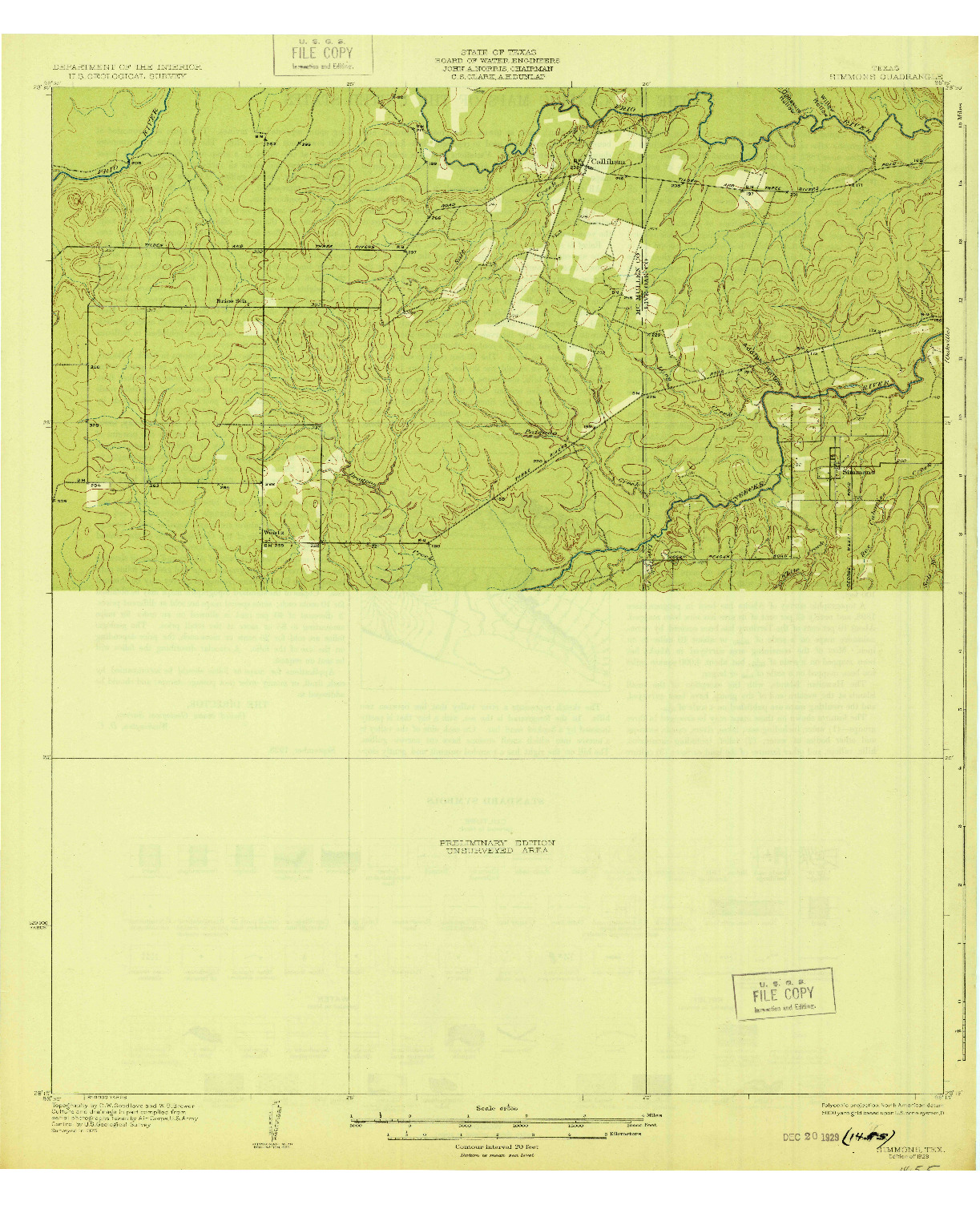 USGS 1:62500-SCALE QUADRANGLE FOR SIMMONS, TX 1929