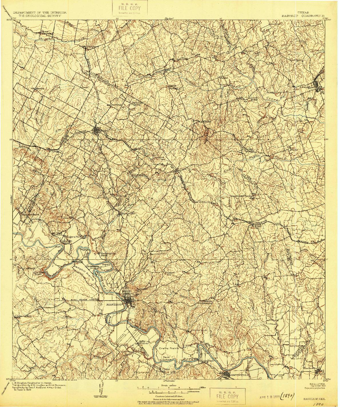 USGS 1:125000-SCALE QUADRANGLE FOR BASTROP, TX 1904