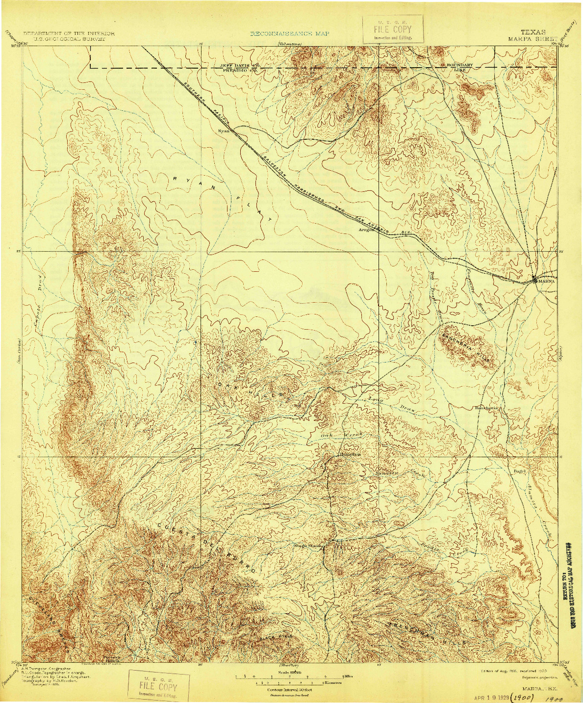 USGS 1:125000-SCALE QUADRANGLE FOR MARFA, TX 1895